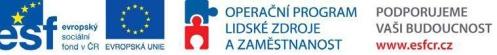 Projekt je financován z ESF a státního rozpočtu ČR prostřednictvím Operačního programu Lidské zdroje a zaměstnanost